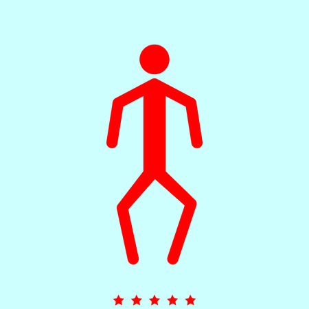 crouch: A man with crooked legs simple style icon. Illustration