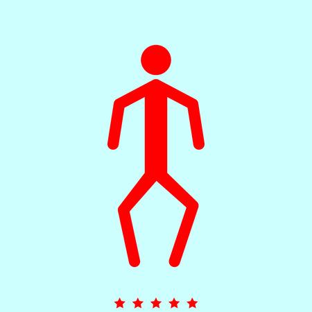 Een man met een kromme benen eenvoudige stijlicoon. Stock Illustratie