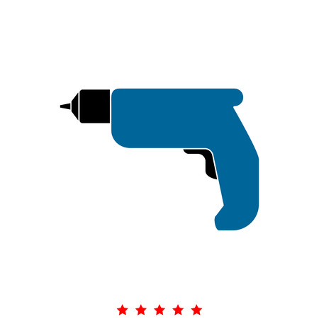 Hand drill  it is icon . Flat style . Illustration
