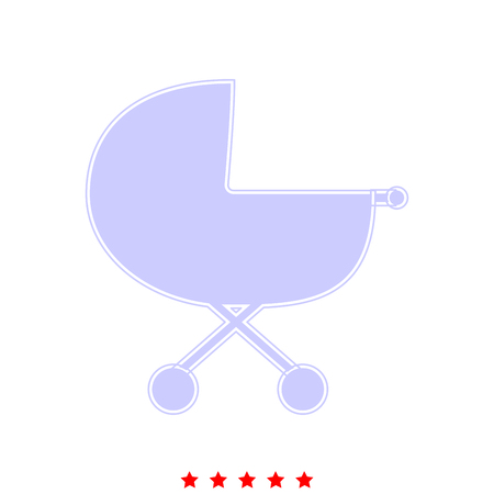 Baby carriage  icon in flat style.
