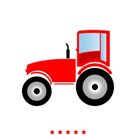 Tractor   icon in flat style.