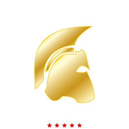 antiquarian: Spartan helmet  icon in flat style.