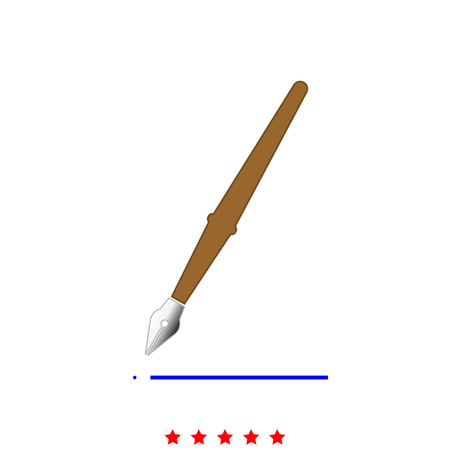 Pen icon in flat style design.