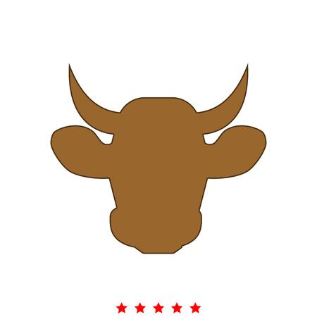 Cow head  in Flat style .