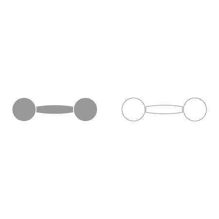 Dumbbell grey set it is icon . Flat style . Ilustração