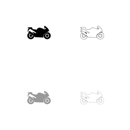 Motorcycle black and grey set icon . Flat style .