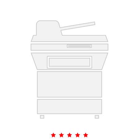 Multifunction printer or automatic copier icon . Flat style .