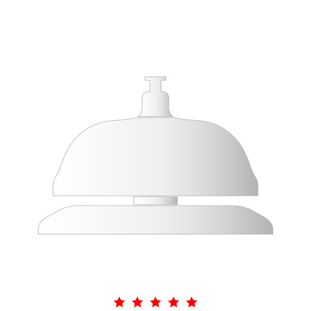 Reception bell it is icon . Flat style . Illustration