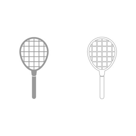 sports equipment: Tennis racquet grey set it is icon . Flat style .