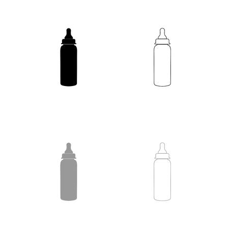 Baby bottle symbol black and grey set icon . Flat style . Illustration