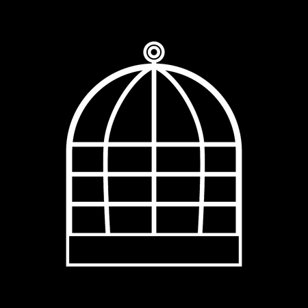 Iron cage it is icon . Flat style . Illustration