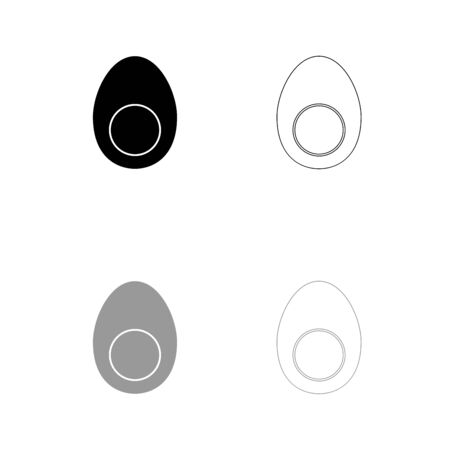 Piece egg black and grey set icon . Flat style .