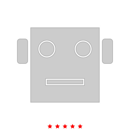 Robot head it is icon . Flat style .
