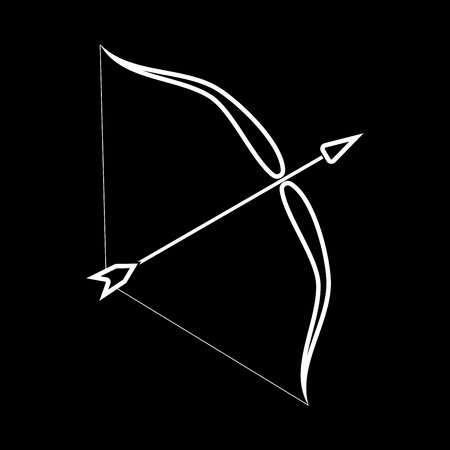 Bow and arrow it is icon . Flat style . Illustration