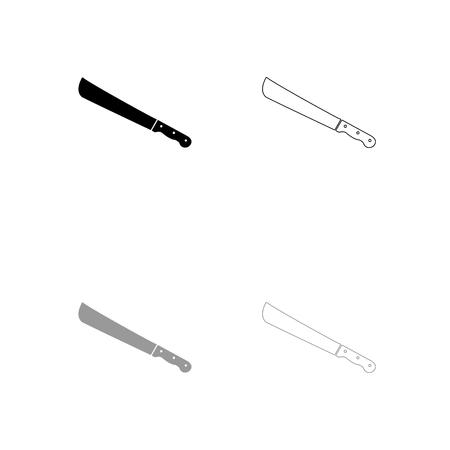 Machete or big knife black and grey set icon . Flat style .