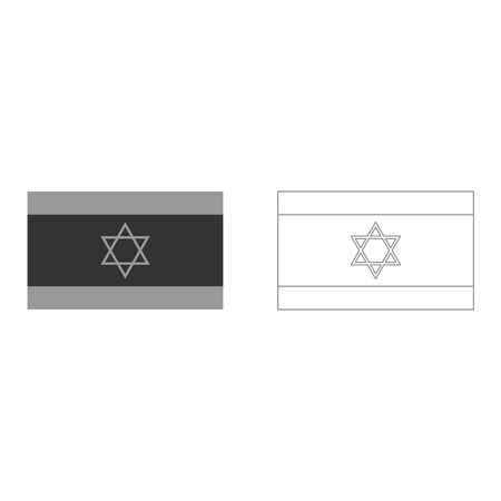 Flag of Israel grey set it is icon . Flat style .