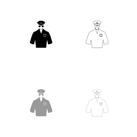 Police black and grey set icon . Flat style .