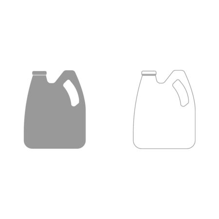 Cans with engine oil and fuel grey set it is icon . Flat style . Illustration