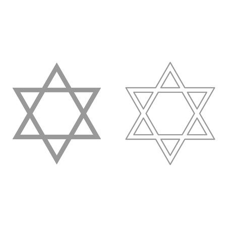 Jewish star of David grey set it is icon . Flat style . Illustration