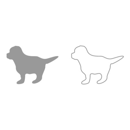 Puppy grey set it is icon . Flat style .