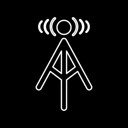 Radio tower it is icon . Flat style . Illustration