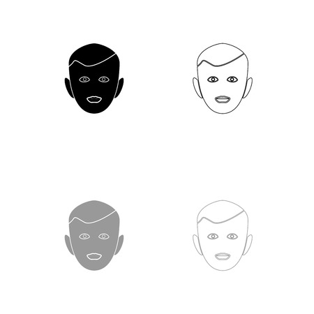 Little boy face black and grey set icon . Flat style .