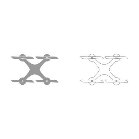 Drone grey set it is icon . Flat style .