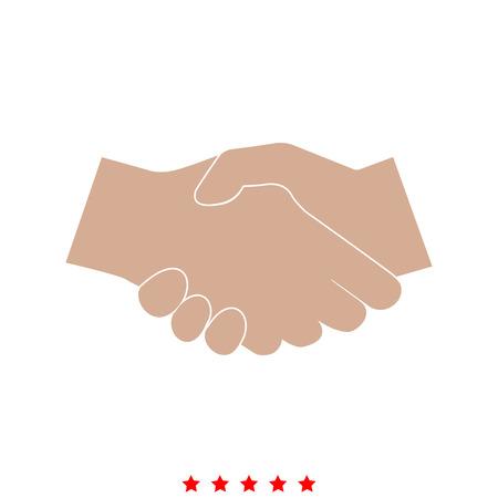 Business handshake it is icon . Flat style .