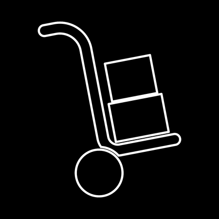 moving box: Truck with boxes it is icon . Flat style . Illustration