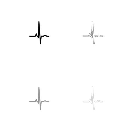 heart monitor: Heart rhythm ekg black and grey set icon . Flat style . Illustration