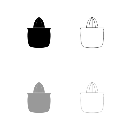 Juicer squeezer black and grey set icon . Flat style .
