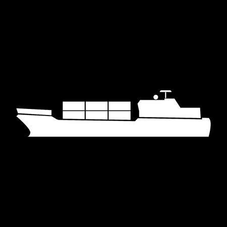 Merchant ship it is icon . Flat style .