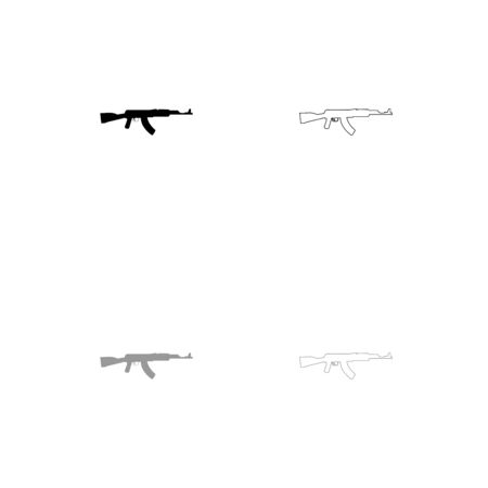 Assault rifle black and grey set icon . Flat style . Иллюстрация