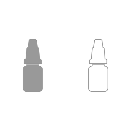 Eye drops grey set it is icon . Flat style . Illustration