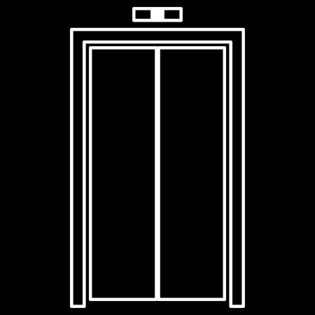 stage door: Elevator doors it is icon . Flat style . Illustration