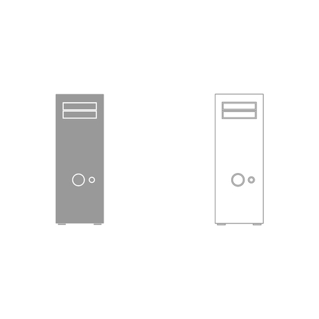 isp: Computer case or system unit grey set it is icon . Flat style .