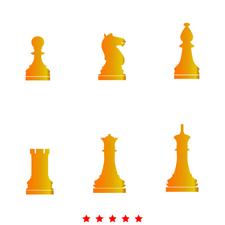 Chess pieces it is icon . Flat style . Illustration