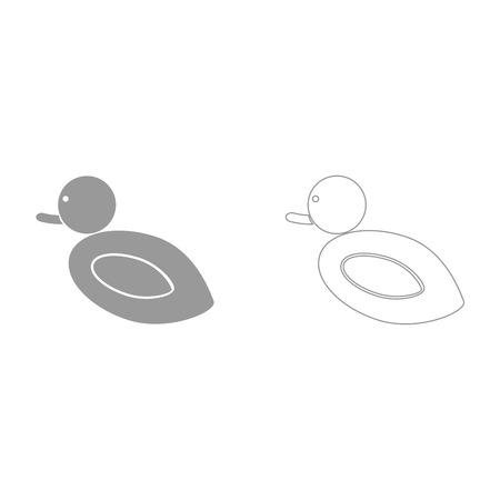 Duck grey set it is icon . Flat style .