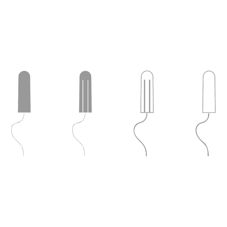 Women hygiene tampons grey set it is icon . Flat style .