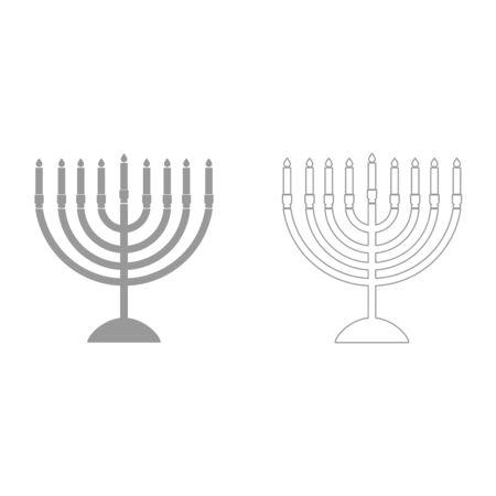 Menorah for Hanukkah grey set it is icon . Flat style .