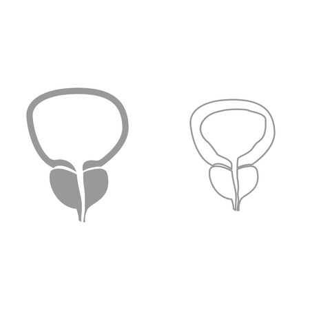 The prostate gland and bladder it is black icon . Simple style. Illustration