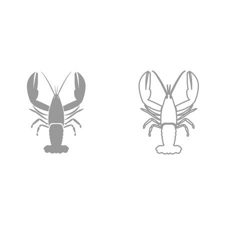 Craw fish it is black icon . Simple style.