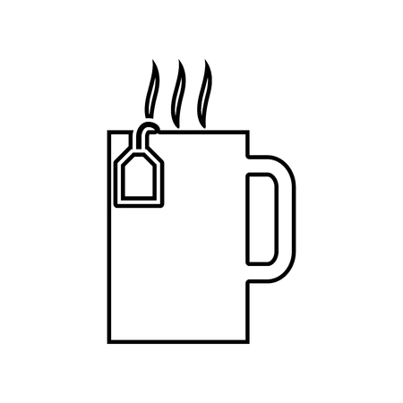 Cup with hot tea  it is black icon . Simple style .