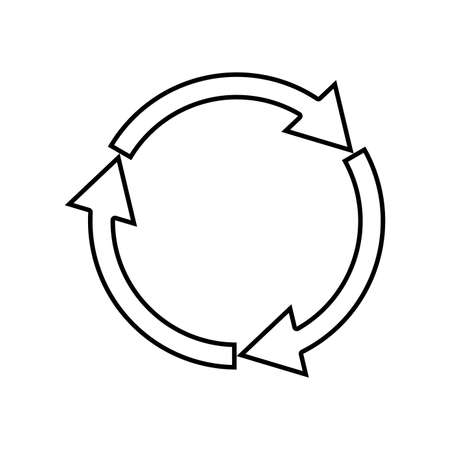Three circle arrows it is black icon . Simple style .