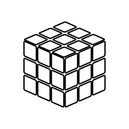 Rubic's cube game shape it is black icon . Simple style . Illustration