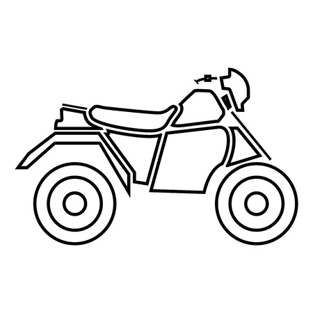 ATV motorcycle on four wheels it is black icon . Simple style .
