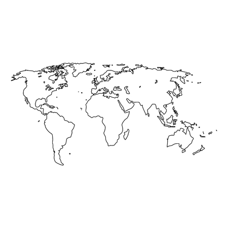 World map it is black icon . Simple style .