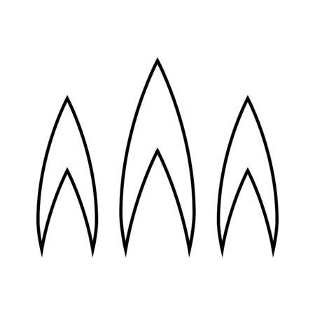 화재의 불꽃 검은 아이콘입니다. 간단한 스타일. 일러스트