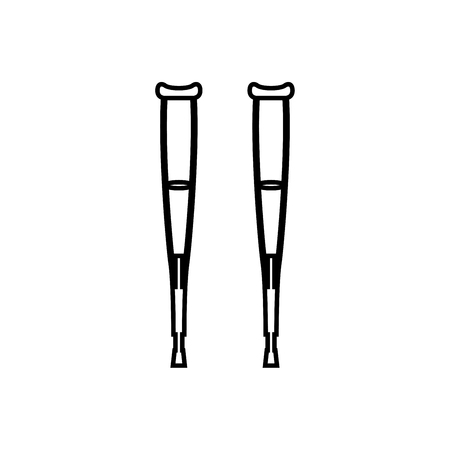 Pair of crutches it is black icon . Simple style .