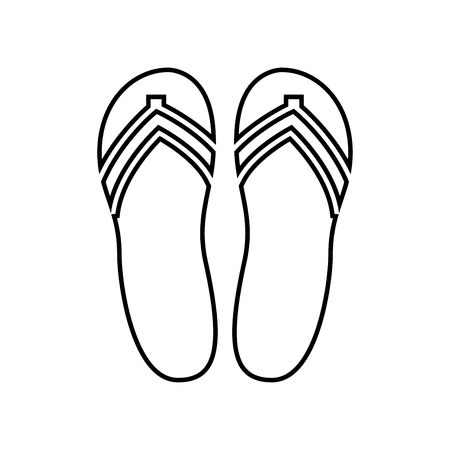Beach slippers it is black icon . Simple style .